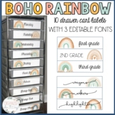 10 drawer cart labels | boho rainbow | editable