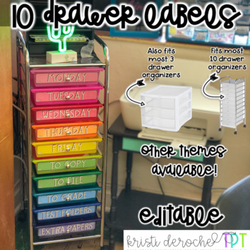 10 drawer rolling cart labels- EDITABLE