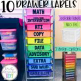 10 drawer cart labels EDITABLE