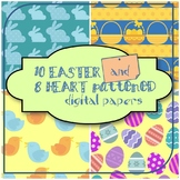 10 easter and 8 heart patterned digital papers