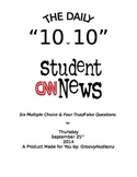 THE DAILY 10 for 10 CNN STUDENT NEWS Current Events Quiz Questions Handout