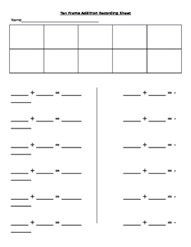 10 frame addition recording sheet