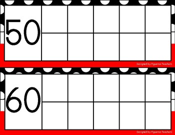 Ten frame counting to 100 chart - red, black, and white polka dot