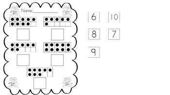 10 frame number matching cut and paste activity (1-10) Winter themed
