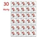 10 frame red white hat number cards 0-50 flashcards math center kindergarten