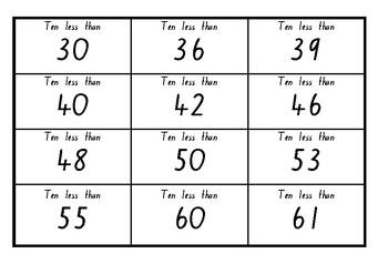 10 less bingo (2 digit)