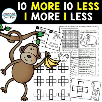 10 More 10 Less 1 More 1 Less Activities and Worksheets