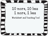 10 more 10 less 1 more 1 less Practice and Teaching Tool