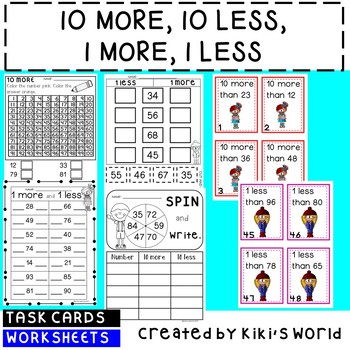 10 more and less 1 more and less (worksheets and task cards)
