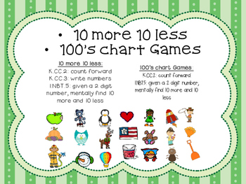 10 more 10 less & 100's chart games: ENTIRE Year (35+)