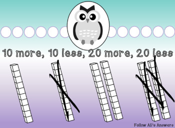 Mental Math-10 more, 10 less, 20 more, 20 less FREEBIE preview
