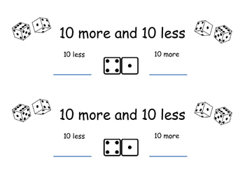 10 more 10 less Dice Activity