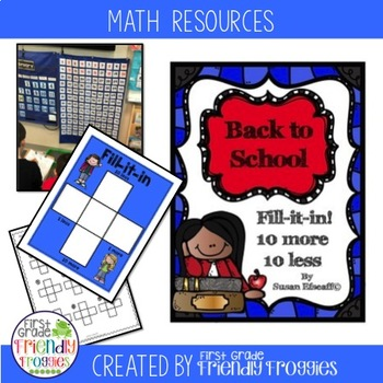 Back to School 10 more, 10 less, Fill in the 100's Chart