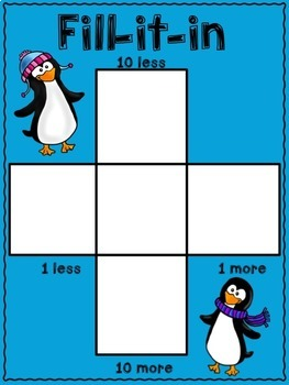 10 more, 10 less, Fill in the 100's Chart - Penguin Themed
