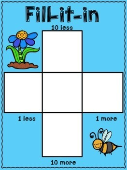 10 more, 10 less, Fill in the 100's Chart - Spring Themed
