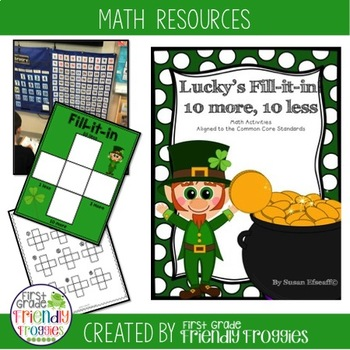 10 more, 10 less, Fill in the 100's Chart - St. Patrick's Day Themed