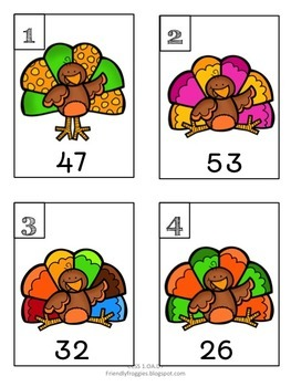 10 more, 10 less, Fill in the 100's Chart - Thanksgiving Themed