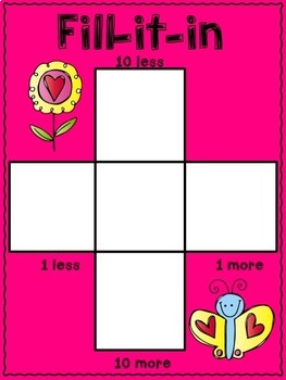 10 more, 10 less, Fill in the 100's Chart - Valentine Themed