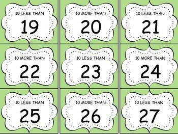 10 more 10 less Math Game