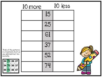 10 more 10 less--Simple Print and Go Practice Sheets