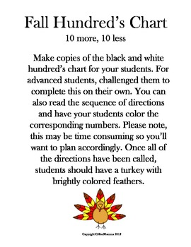 10 more and 10 less Fall Hundred's Chart Coloring Activity