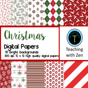 10  pattern digital papers Christmas Winter Holiday