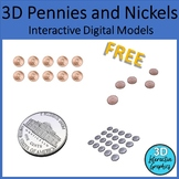 Pennies and Nickels 3D Digital Models for Whiteboards and Smartboards FREE