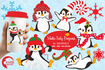 Christmas clipart, Winter penguins cliparts AMB-307