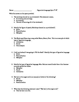 10 point Figurative Language Quiz
