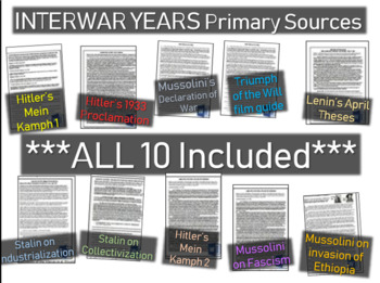 10 primary source docs with guiding Qs: 3 Hilter, 3 Mussol