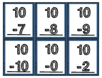 10's Addition & Subtraction Flash Cards
