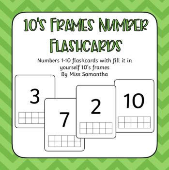 10's Frames Number Flashcards