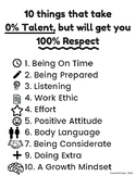 10 things that take  0% Talent, but will get you 100% Respect
