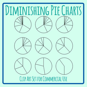 10 to 2 Varying Pie Charts Clip Art Set Commercial Use