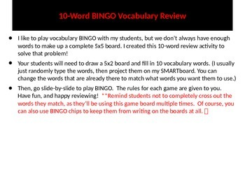 10-word BINGO review game (PPT) - FREE! :)