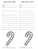 10 word spelling test 2 per page! Winter/Christmas with Candy Cane to color!