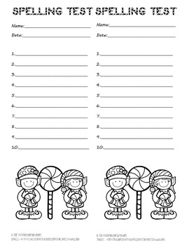 10 word spelling test 2 per page! Winter/Christmas with Candy ELVES to color!