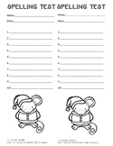 10 word spelling test 2 per page! Winter/Christmas with Holiday Mouse to color!
