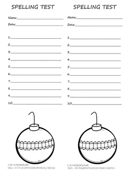 10 word spelling test 2 per page! Winter/Christmas with Ornament to color!