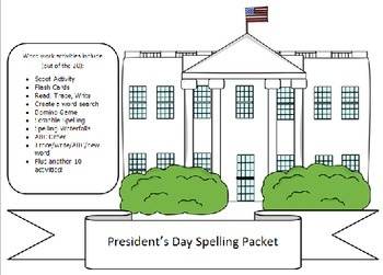 Presidents Day, 10 word packet -20 activities of NO PREP word work-50+ pages