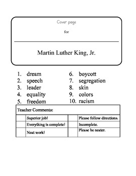 Martin Luther King Day -10 word packet-20 activities of NO PREP word work-40 pag