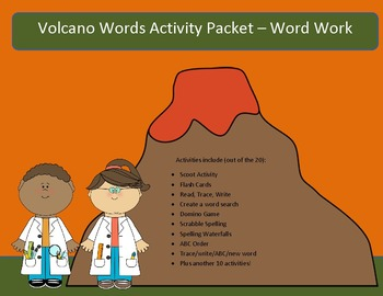 Volcanoes - 10 word packet-20 activities of NO PREP word work-40 pages