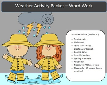 Weather - 10 words -20 activities of NO PREP word work-40 pages