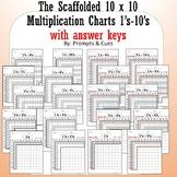 10 x 10 Scaffolded Multiplication charts