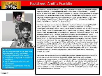 10 x Black History Month Famous People Icons Factsheets #2 Keywords Worksheet