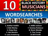 10 x Black Music History Month Famous People Icons Wordsearch Keywords Musicians