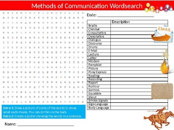 10 x Communication Wordsearch Puzzle Sheets Starter Activity English Language