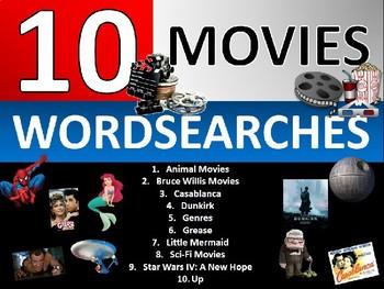10 x Famous Movies Wordsearch Sheet Starter Activity Keywords Media Studies