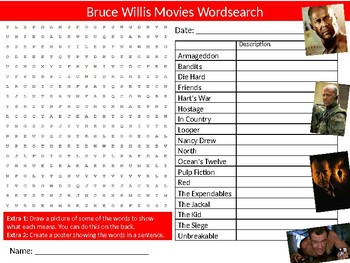 10 x Famous Movies Wordsearch Sheet Starter Activity Keywords Media Studies