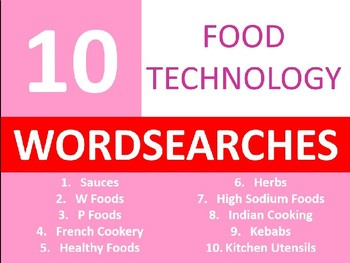 10 x Food Technology Wordsearches #3 Keyword Starters Settlers Wordsearch